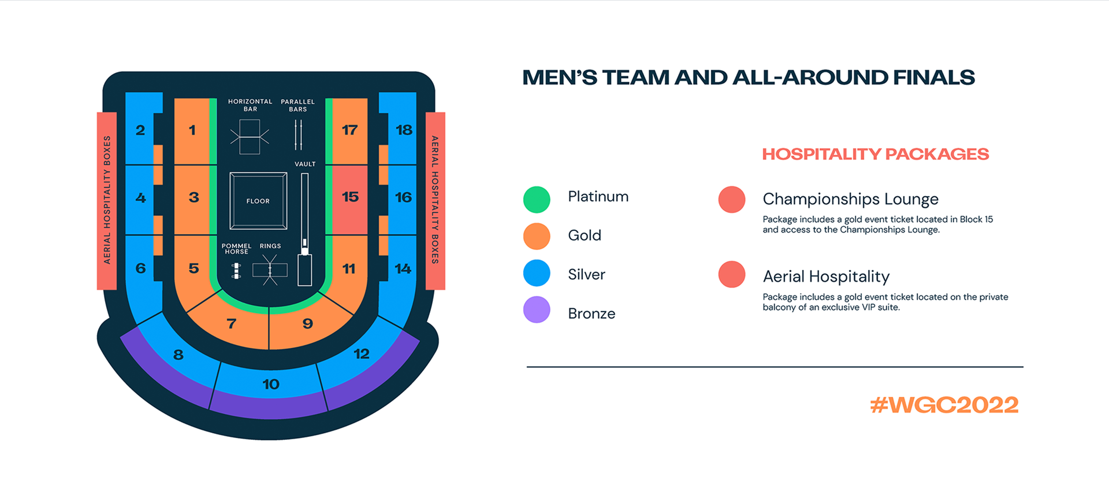 Seat map for Men's team and all-around finals