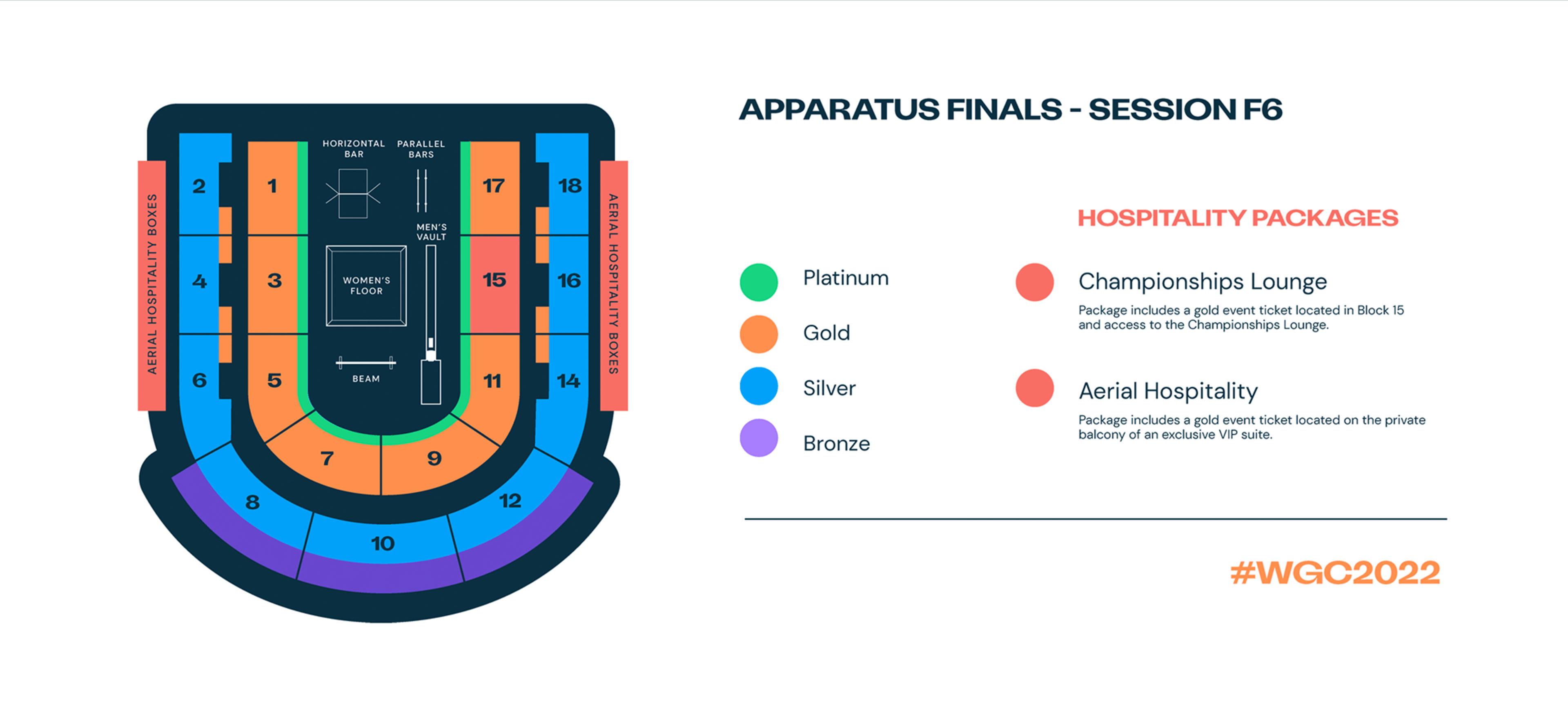 Seat map for Apparatus Finals - Session F6